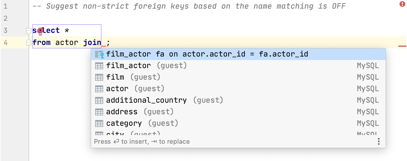 Suggest Non Strict Foreign Keys Based On The Name Matching is Off