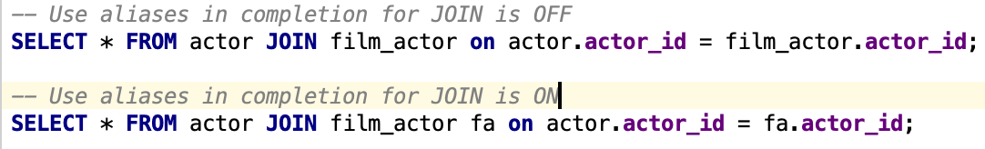 Use aliases in completion for JOIN