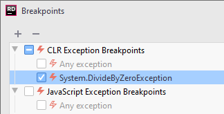 JetBrains Rider: new exception breakpoint