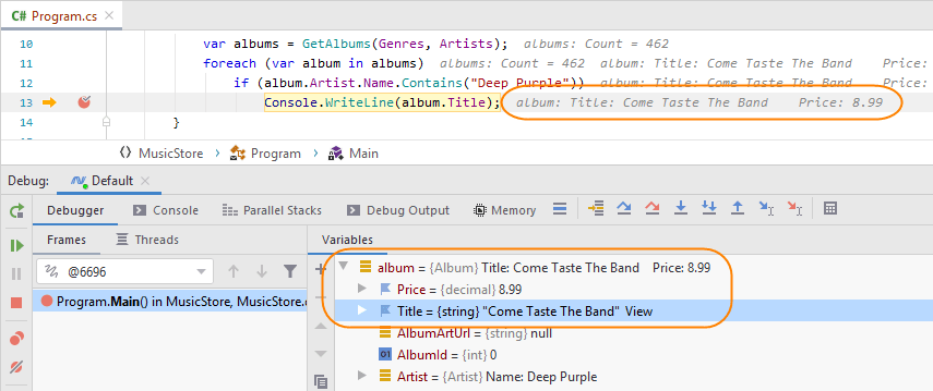 JetBrainsRider: Customizing debugger presentation of complex objects (pinned items)
