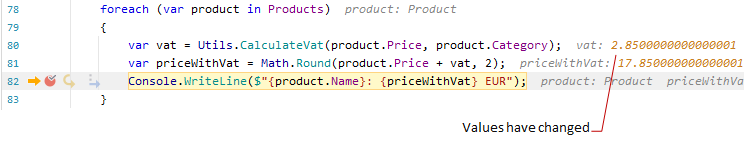 JetBrainsRider debugger: Inline values in the editor