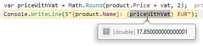 JetBrainsRider: Value tooltips for variables when debugging