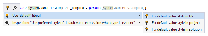 JetBrains Rider syntax style inspection: Use 'default' literal