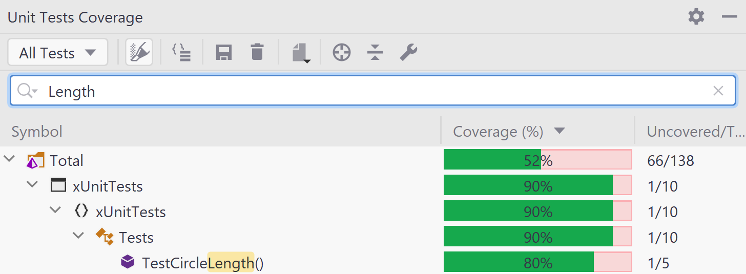 Search coverage tree