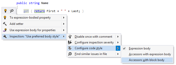 JetBrainsRider: Changing code style preference for member body