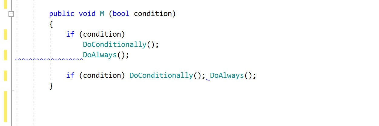 JetBrainsRider code inspection: Incorrect indent (around child statement)