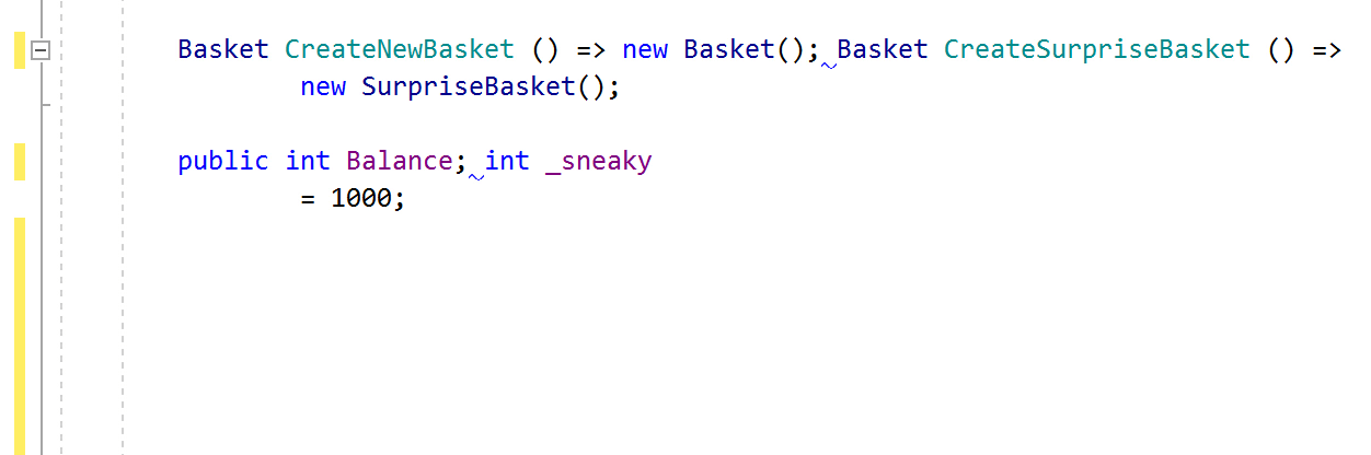 JetBrainsRider code inspection: Incorrect line breaks (multiple type members on one line)