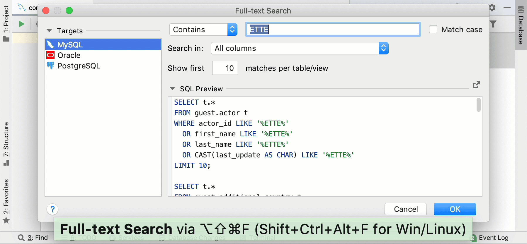 Search for data in databases