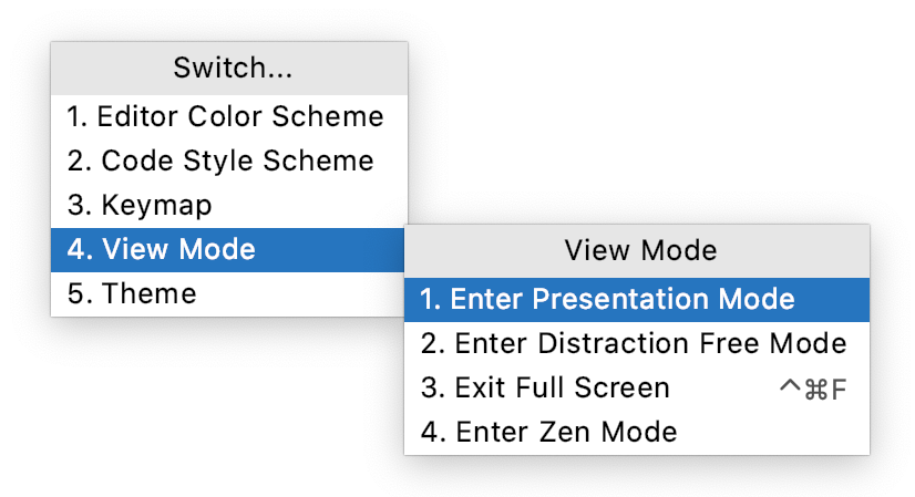 Quick switcher for viewing modes