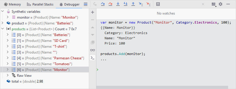 JetBrainsRider: Synthetic variables in the Immediate window