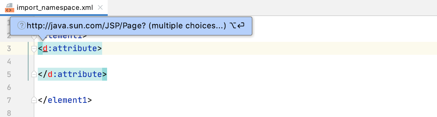 Tooltip: Reference to an unbound namespace