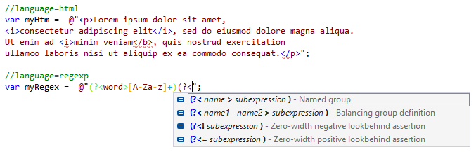 JetBrainsRider: Language injections in C# strings with comments