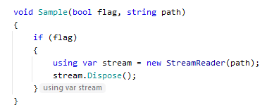 JetBrainsRider Inlay hints: disposed resource variable
