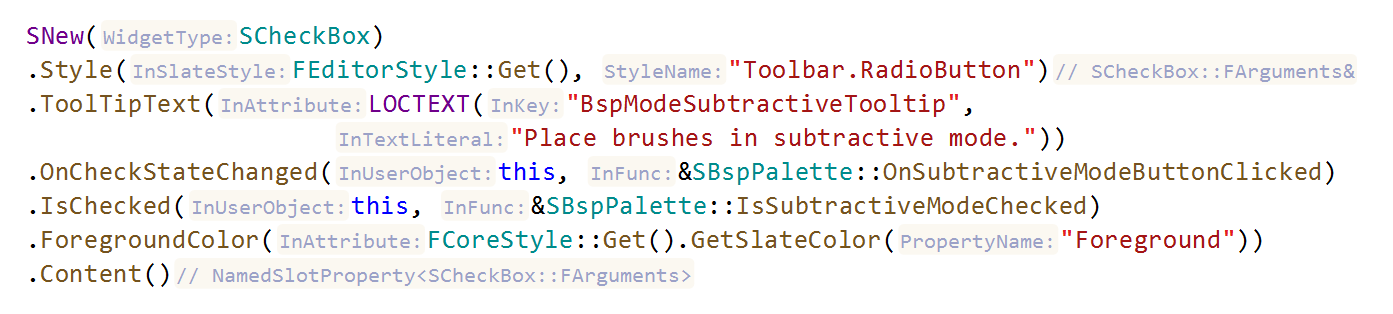 JetBrainsRider C++: type name hints for functions calls