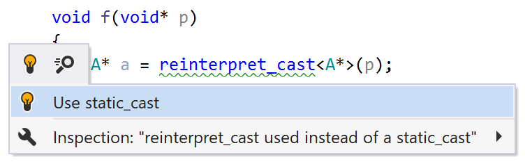 reinterpret_cast used instead of a static_cast when                     casting to void*