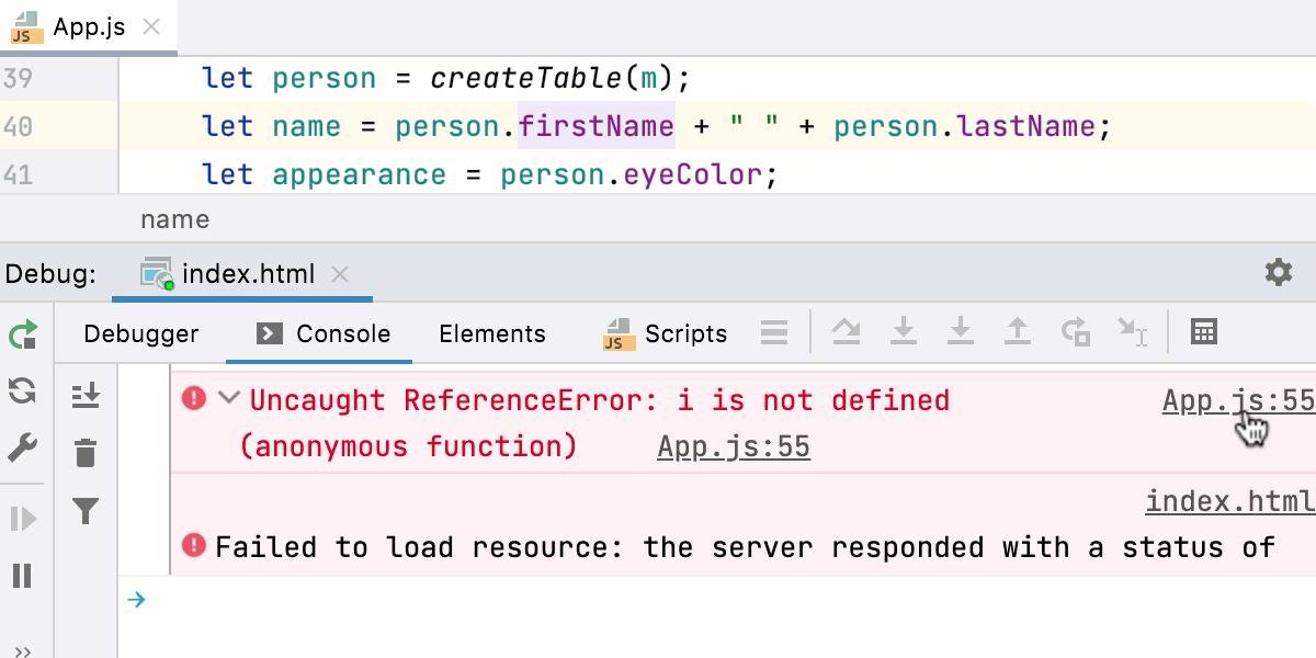 JavaScript interactive debugger console: navigation to errors