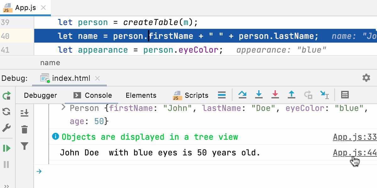 JavaScript interactive debugger console: navigation to source code