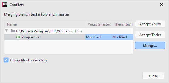 JetBrains Rider: VCS operation conflicts dialog