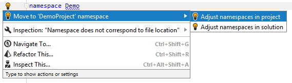 JetBrainsRider quick-fix to synchronize namespace to the file location