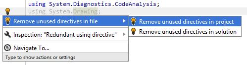 Unused namespace import quick-fix