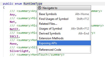 JetBrainsRider: Navigating to exposing APIs of a symbol