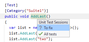 JetBrainsRider: Locating a test in a unit tests session