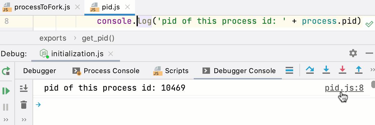 Node.js interactive debugger console: navigation to source code