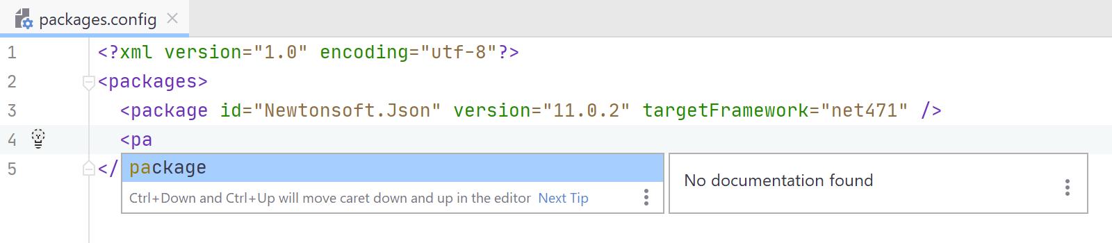 JetBrainsRider: Coding assistance in NuGet configuration files