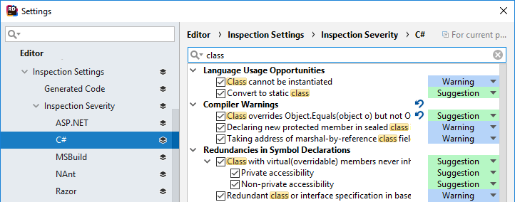 Changing inspection severity in the JetBrainsRider Settings dialog