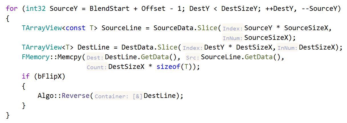 JetBrainsRider C++: parameter name hints in dependent code