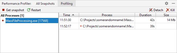 JetBrains Rider: profiling controller