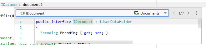 JetBrains Rider: Quick Definition with multiple results