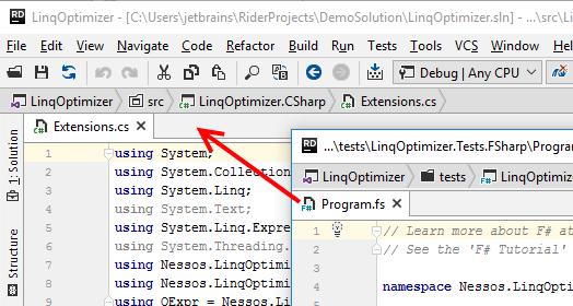 JetBrainsRider: Attach a detached editor tab