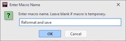 Enter Macro Name dialog
