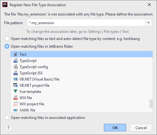 JetBrainsRider: Associating a filename pattern with specific file type