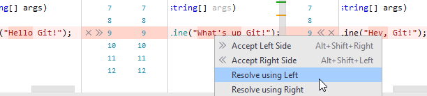 the context menu of a conflicting change