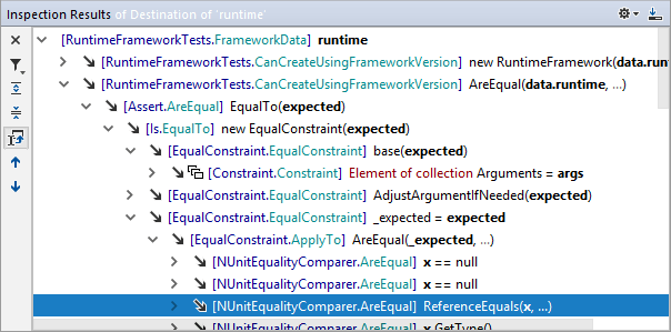 Value destination hierarchy in the Inspection Results window
