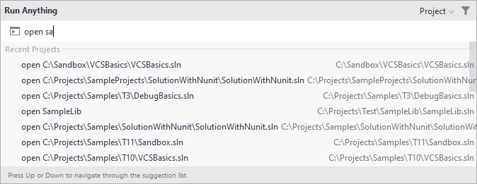 Opening a recent project from the Run Anything popup
