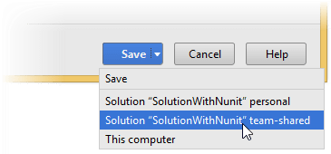 Save or Save To in JetBrainsRider options