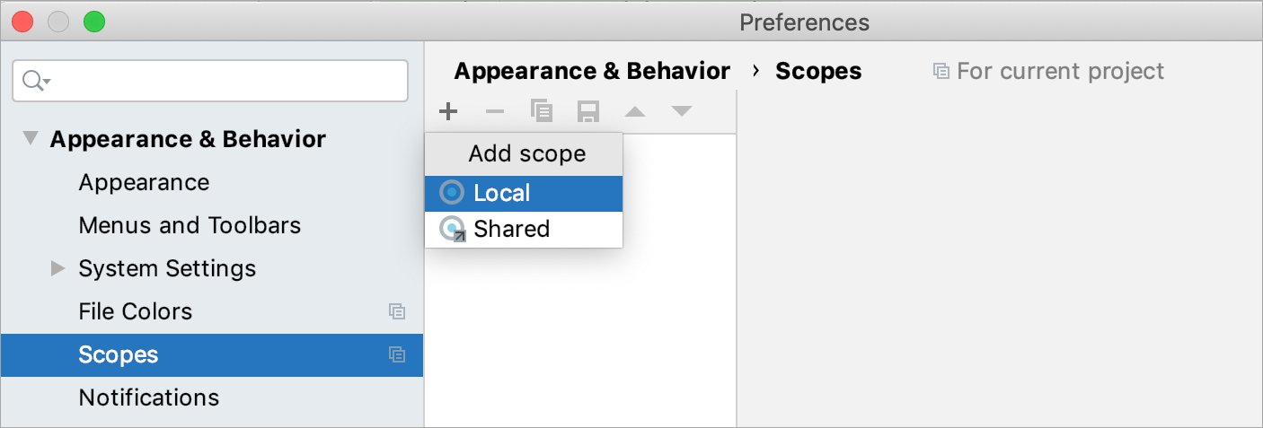 Creating a new scope: selecting between a shared and a local scope