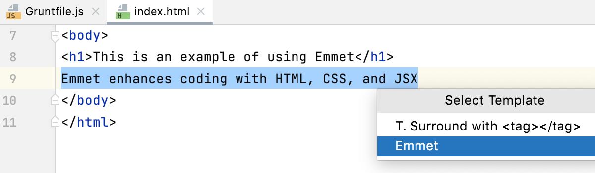 Select Template context menu