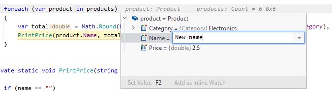 JetBrainsRider: Setting variable value via inline hint
