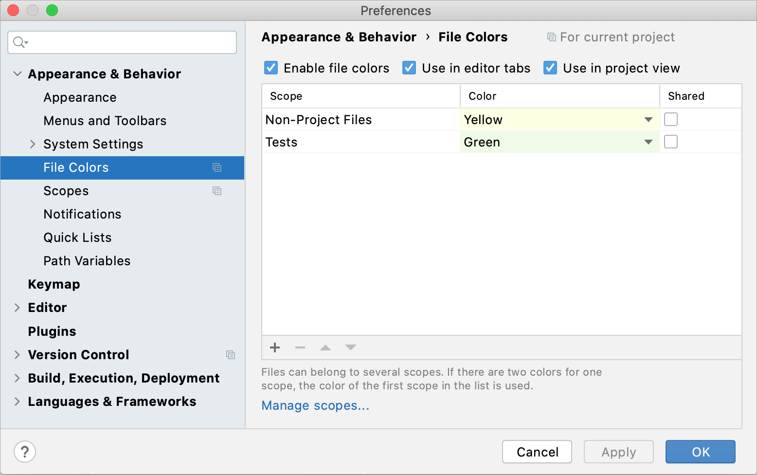 Configuring file colors in Settings/Preferences