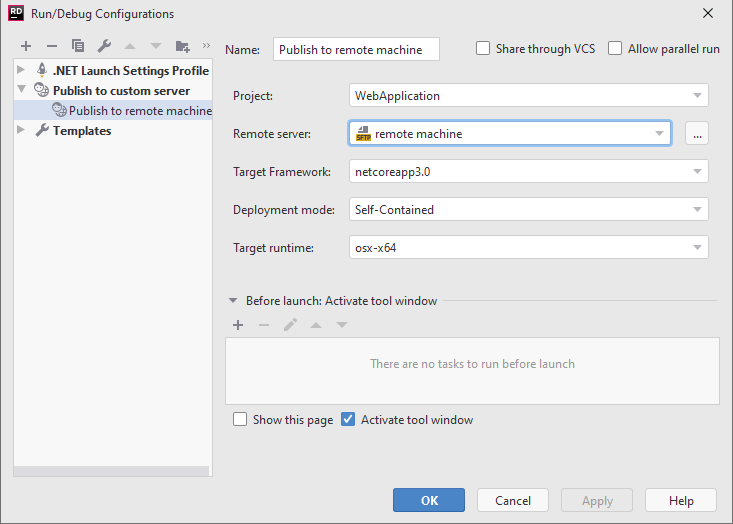 SSH remote debugging. Deployment configuration