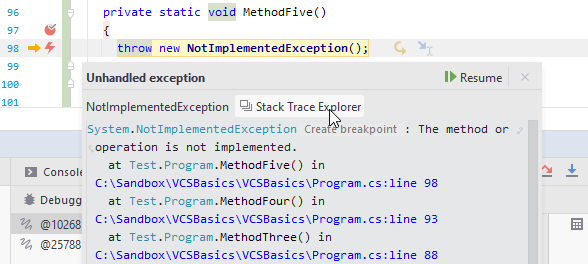 JetBrains Rider: Opening stack trace from exception