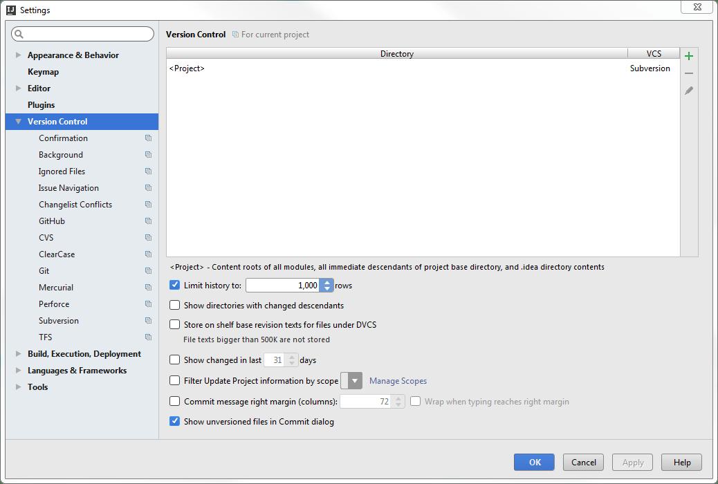 SVN diagnostics. general settings