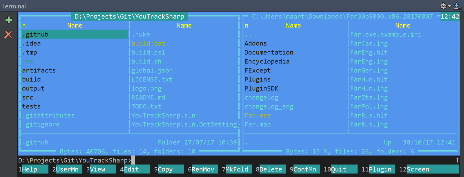 Using Far Manager in the JetBrains Rider's terminal emulator