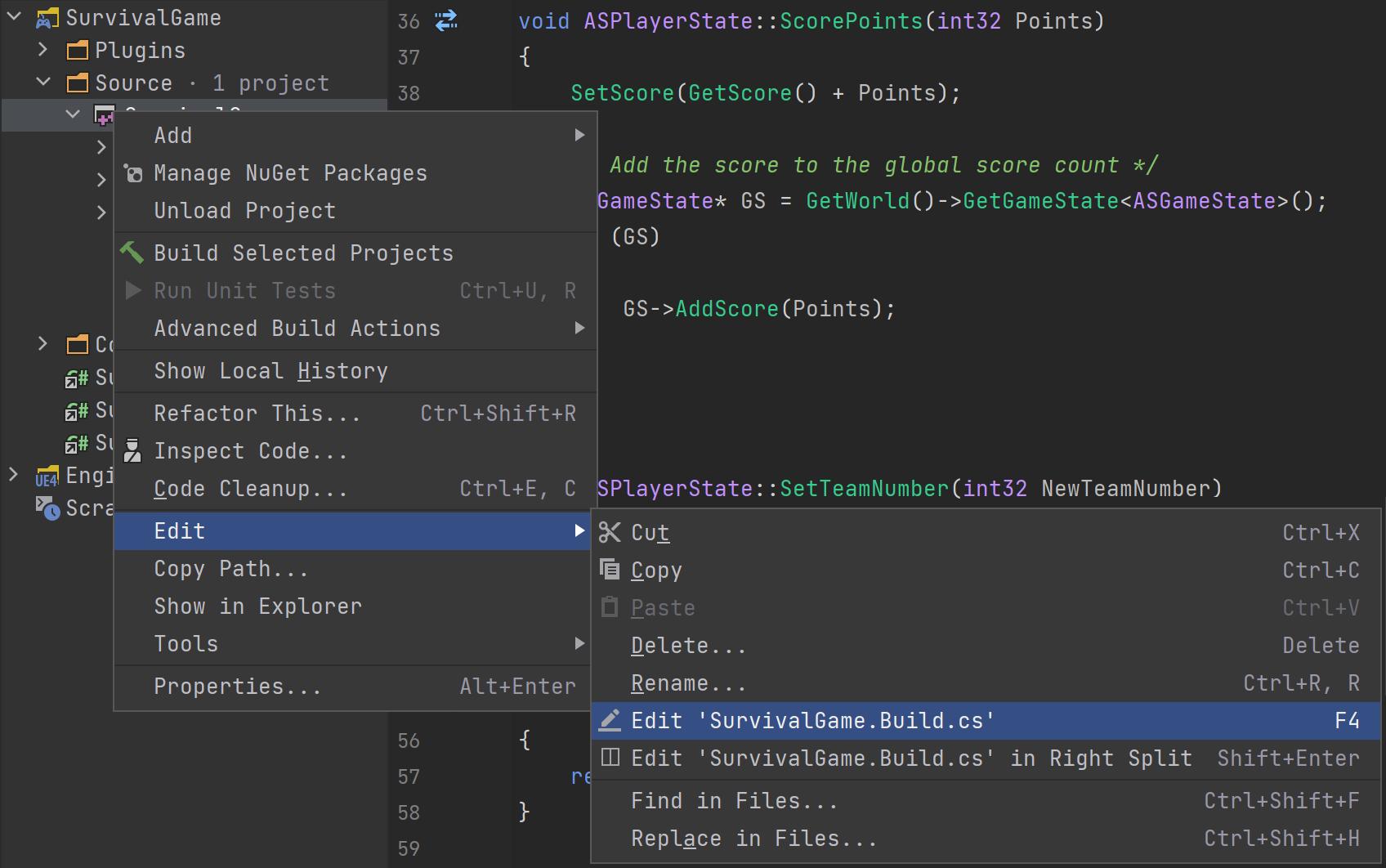 Edit Build.cs