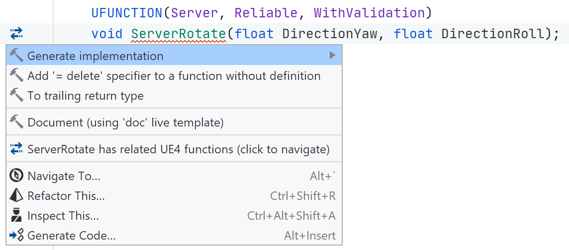 JetBrains Rider: UUnreal Engine remote procedure calls support