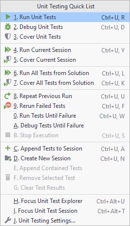 JetBrainsRider: Unit Testing Quick List